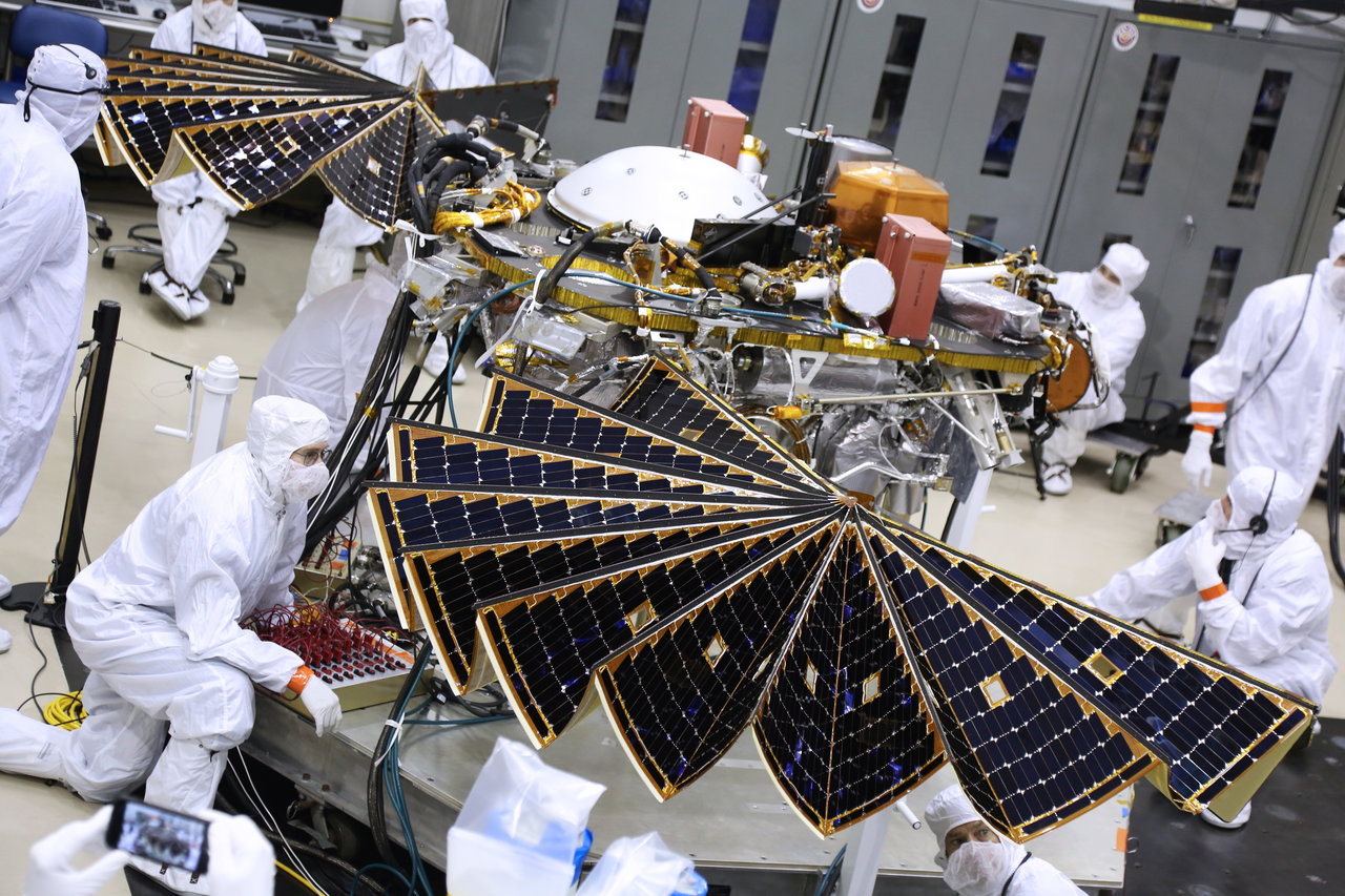 NASA's next mission to Mars passed a key test Tuesday, extending the solar arrays that will power the InSight spacecraft once it lands on the Red Planet this November.