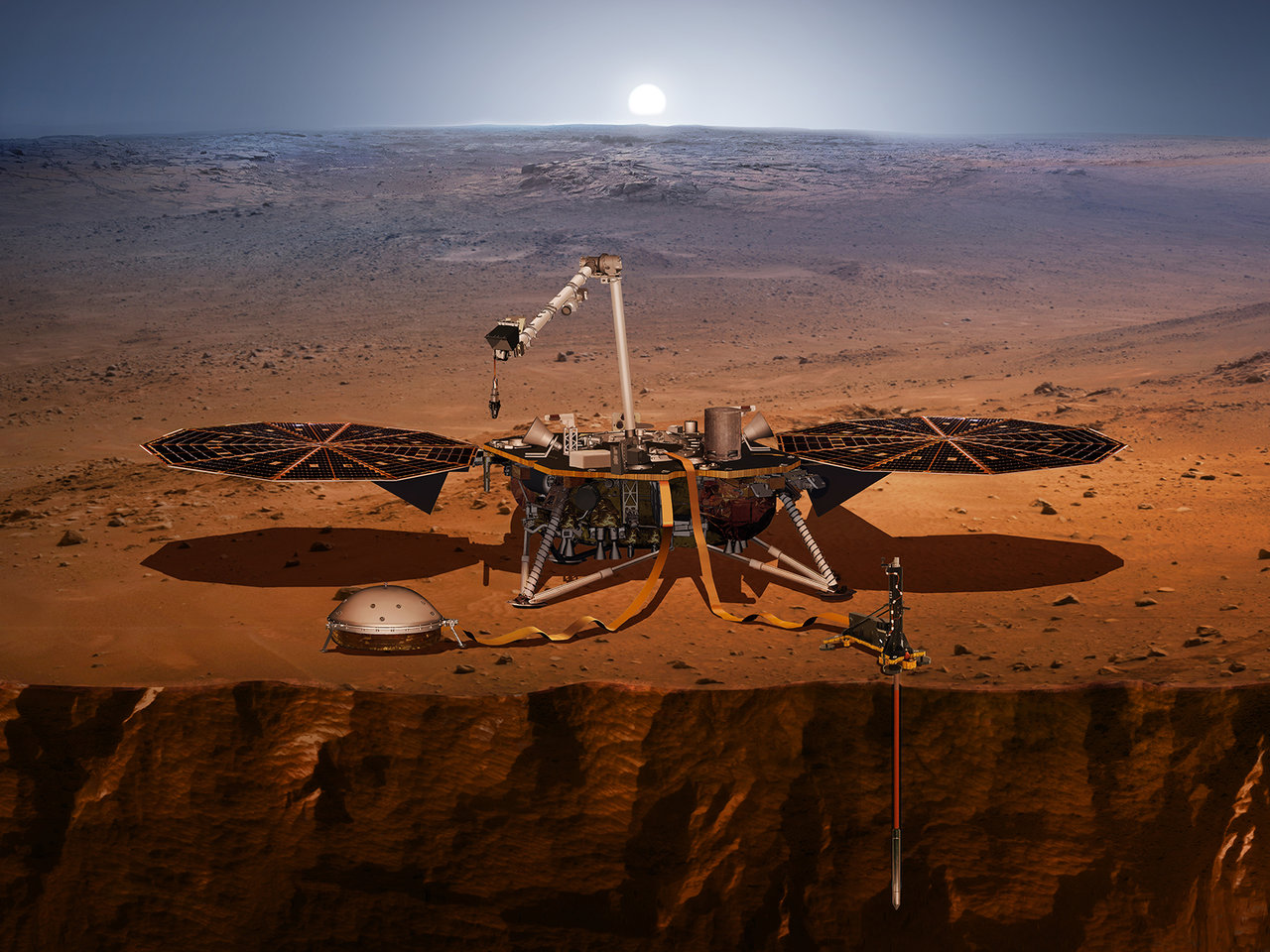 This artist's concept shows the InSight lander, its sensors, cameras and instruments