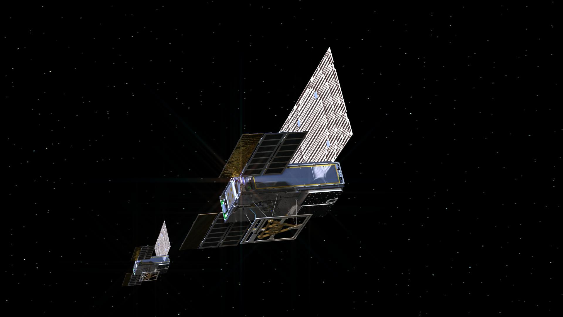 An artist's rendering of the twin Mars Cube One (MarCO) spacecraft on their cruise to Mars.