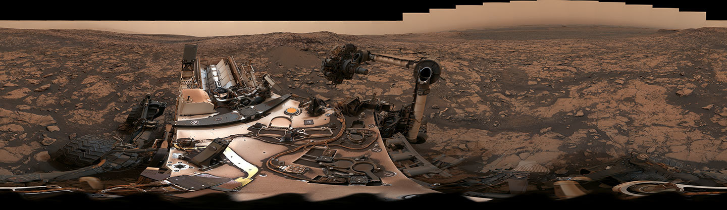 NASA's Curiosity rover surveyed its surroundings on Mars, producing a 360-degree panorama of its current location on Vera Rubin Ridge.