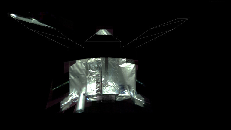 This is an unannotated composite selfie of the MAVEN spacecraft.