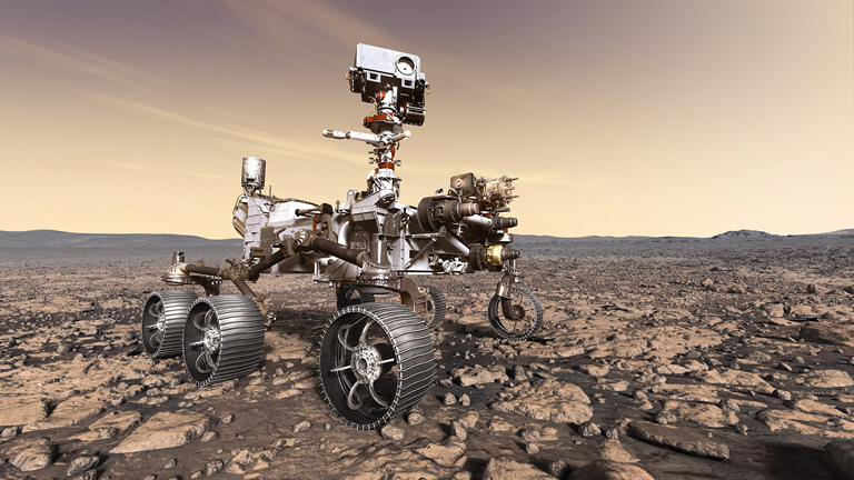 This artist's rendition depicts NASA's Mars 2020 rover studying its surroundings. Mars 2020 is targeted for launch in July or August 2020 from the Cape Canaveral Air Force Station in Florida.