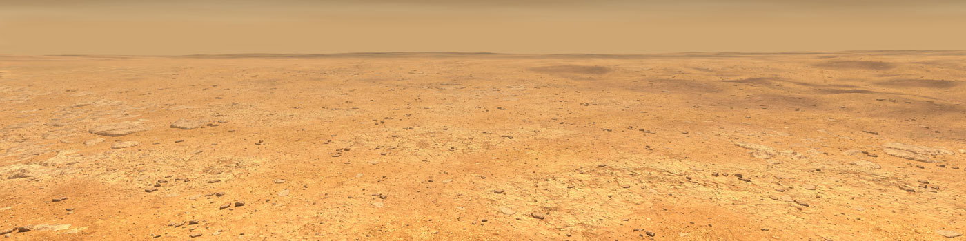 This artist's concept depicts the smooth, flat ground that dominates InSight's landing ellipse in the Elysium Planitia region of Mars.