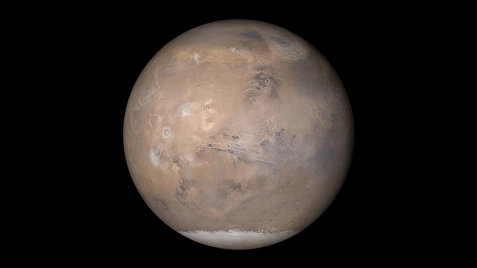 This view of Mars was assembled from MOC daily global images obtained on May 12, 2003.