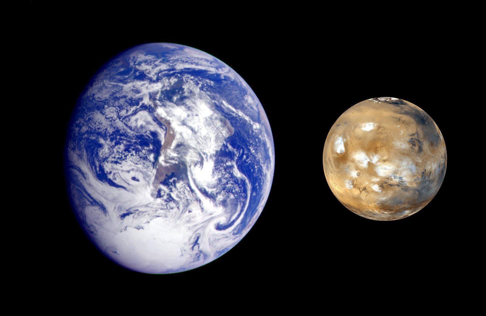 This composite image of Earth and Mars was created to allow viewers to gain a better understanding of the relative sizes of the two planets.
