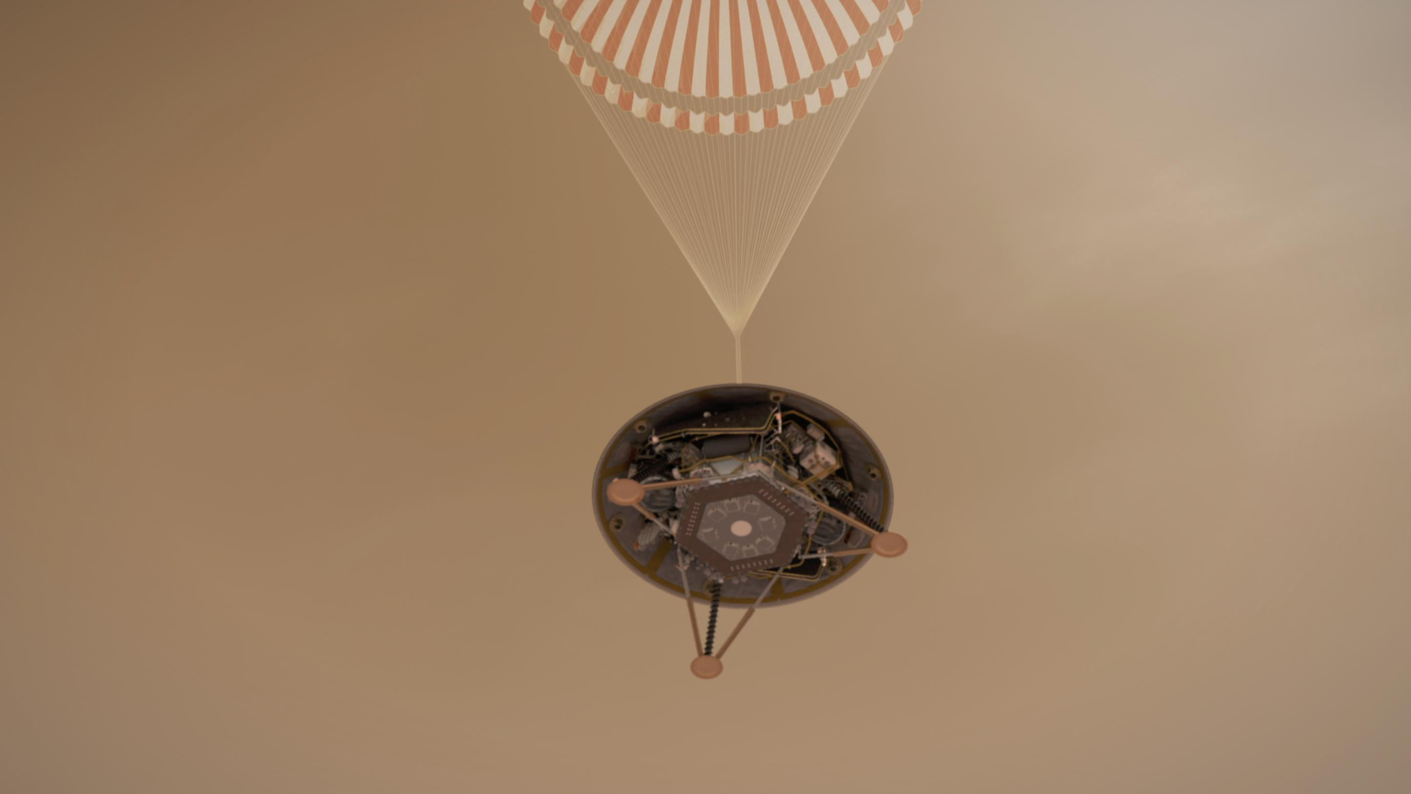 This illustration shows a simulated view of NASA's InSight lander descending towards the surface of Mars on its parachute.