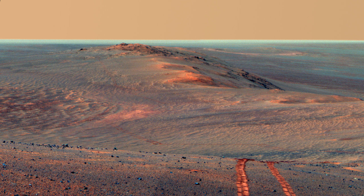 This scene from the panoramic camera on NASA's Mars Exploration Rover Opportunity looks back toward part of the west rim of Endeavour Crater that the rover drove along, heading southward, during the summer of 2014.