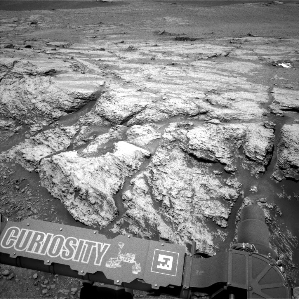 "This image shows part of ""Teal Ridge,"" which the rover has been studying within a region called the ""clay-bearing unit."""