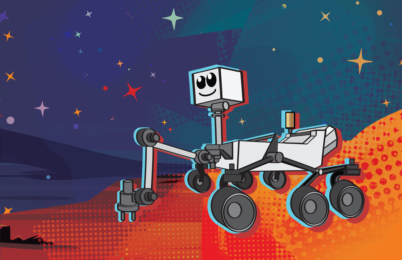 This cartoon depicts NASA's next Mars rover, which launches in 2020.
