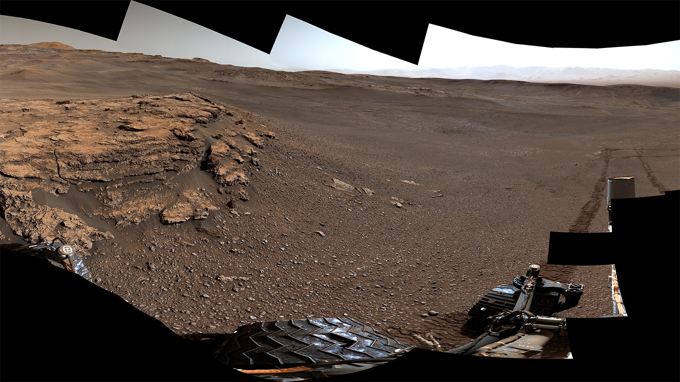 "This panorama of a location called ""Teal Ridge"" was captured on Mars by the Mast Camera, or Mastcam, on NASA's Curiosity rover on June 18, 2019, the 2,440th Martian day, or sol, of the mission."