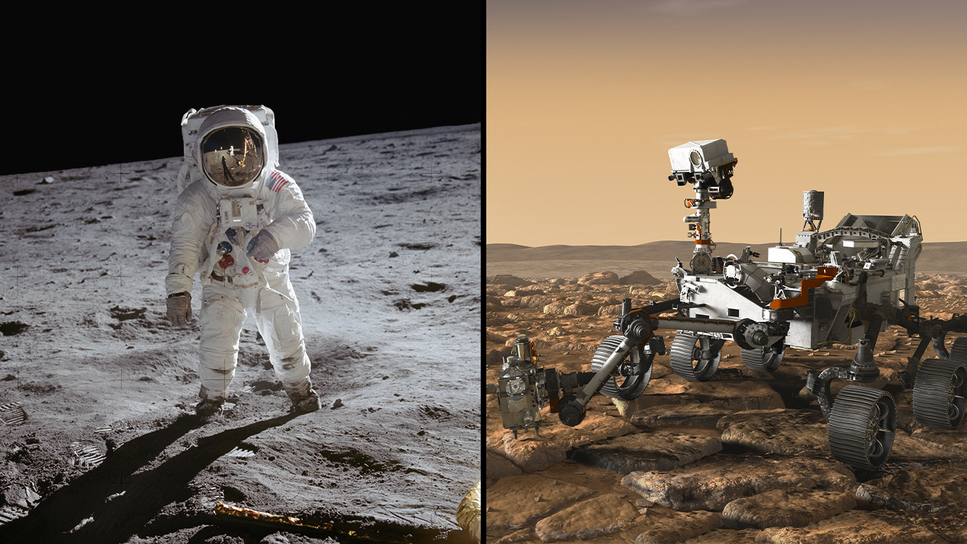 From left to right: Apollo 11 astronaut Buzz Aldrin stands on the Moon; 47 pounds (21.5 kilograms) of samples were brought back to Earth from that mission; the Mars 2020 rover, seen here in an artist's concept rover, will be taking the first planetary samples at Jezero Crater, Mars (on right).