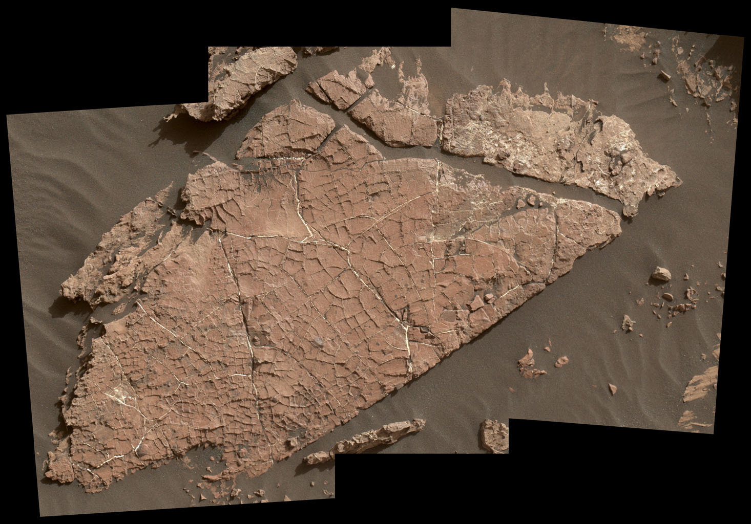 "The network of cracks in this Martian rock slab called ""Old Soaker"" may have formed from the drying of a mud layer more than 3 billion years ago."