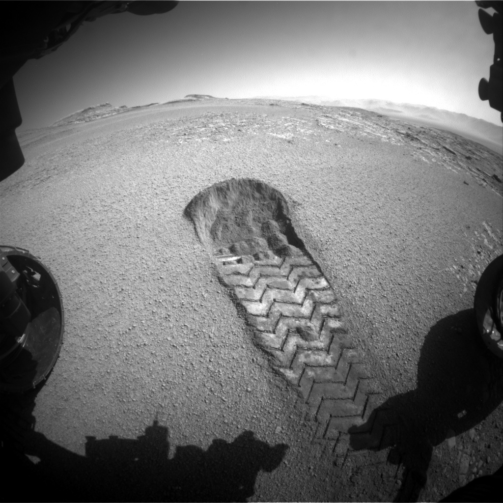 "Rover wheel scuff at ""Culbin Sands."""