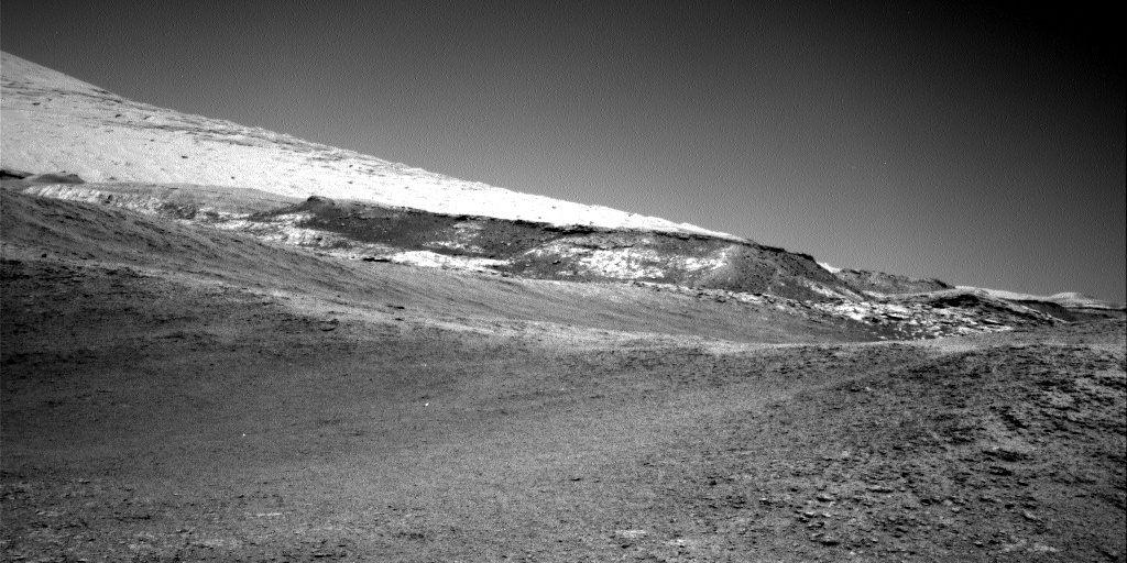 Looking at the foothills of Mt. Sharp from the last parking position. This image was taken by Right Navigation Camera onboard NASA's Mars rover Curiosity on Sol 2557 (2019-10-16 09:15:45 UTC).