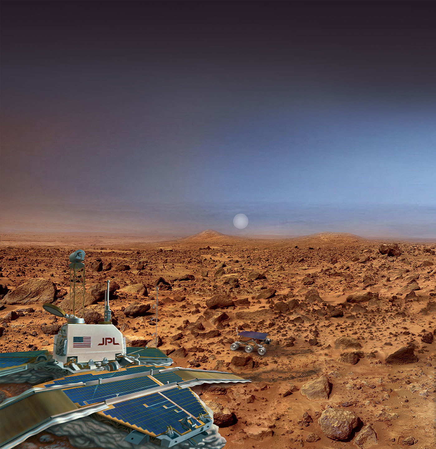 "An artist's rendering of Mars Pathfinder, which consisted of a lander and the first-ever robotic rover on the surface of the Red Planet. The documentary ""The Pathfinders"" tells the story behind the mission."