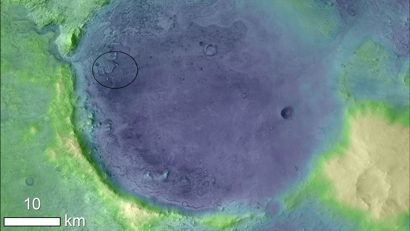 Lighter colors represent higher elevation in this image of Jezero Crater on Mars, the landing site for NASA's Mars 2020 mission.