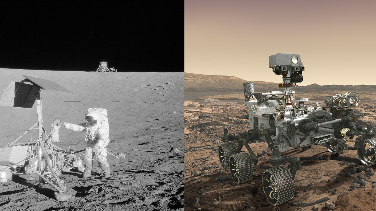 "(Left) Apollo 12 astronaut Charles ""Pete"" Conrad Jr. stands beside NASA's Surveyor 3 spacecraft; the lunar module Intrepid can be seen in the distance. Apollo 12 landed on the Moon's Ocean of Storms on Nov. 20, 1969. (Right) Mars 2020 rover, seen here in an artist's concept, will make history's most accurate landing on a planetary body when it lands at Mars' Jezero Crater on Feb. 18, 2021."