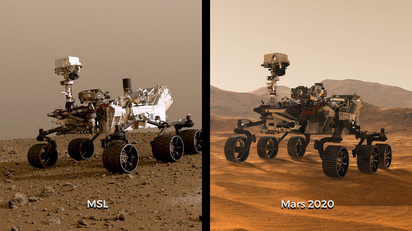 Illustrations of NASA's Curiosity and Mars 2020 rovers.