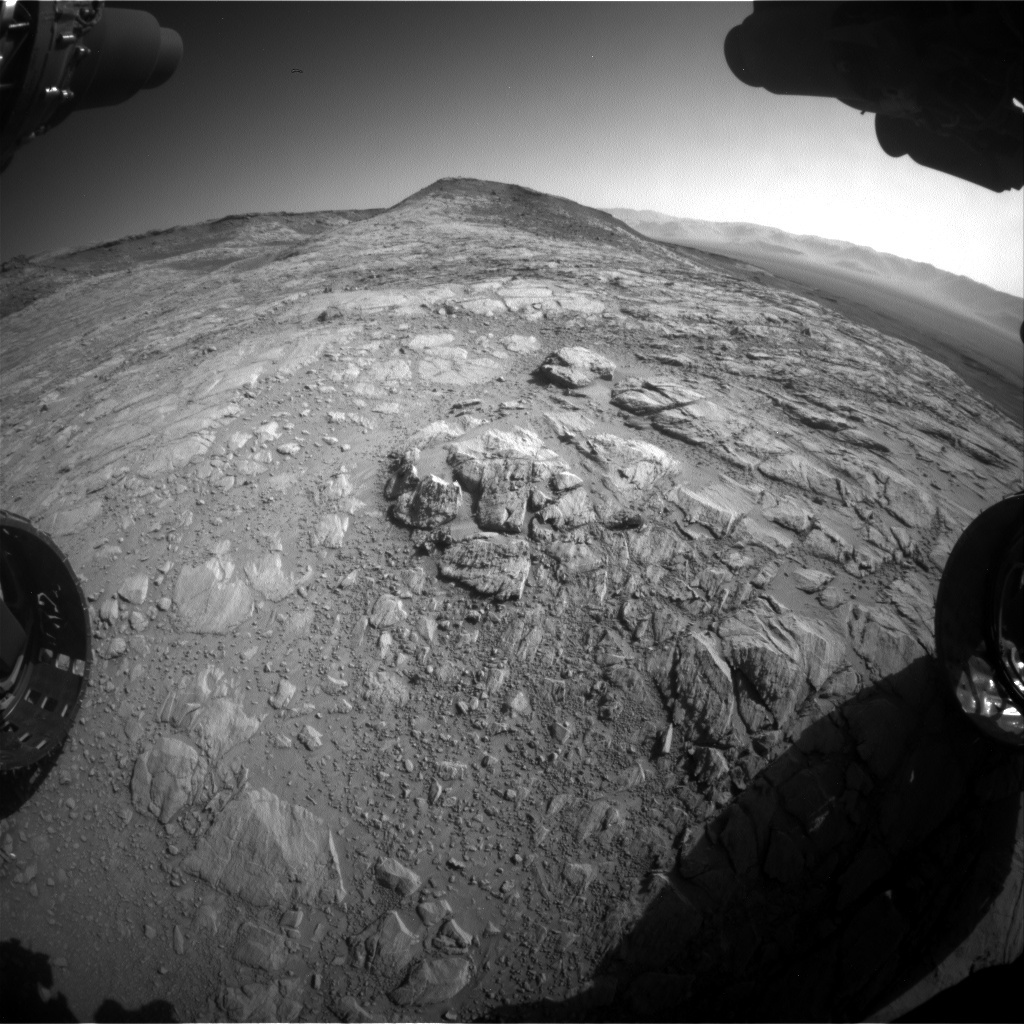 Hazcam image showing the view towards the top of Western Butte.