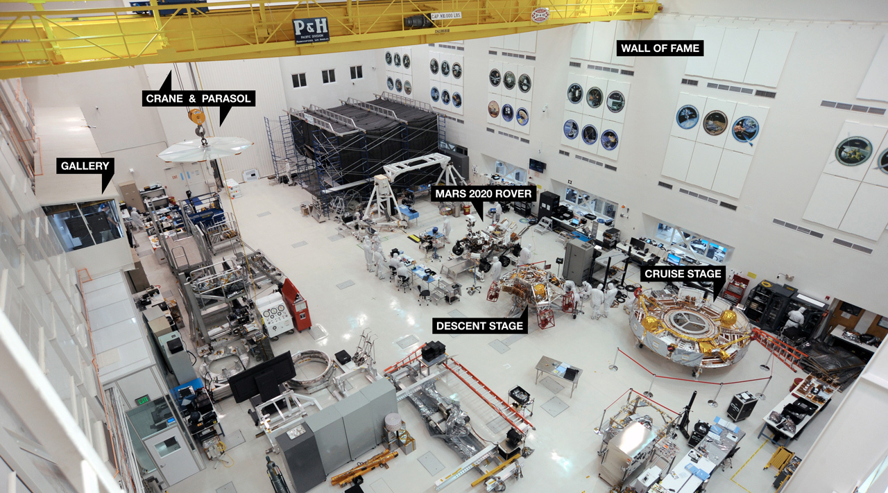 The Mars 2020 rover in the High Bay 1 clean room at JPL.