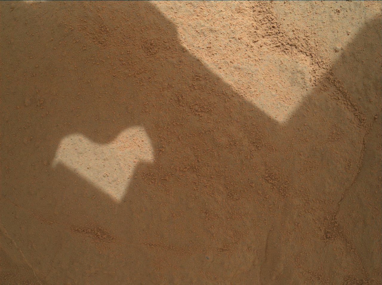A cheerful patch of heart-shaped sunlight reminds us of how we love learning about Mars!