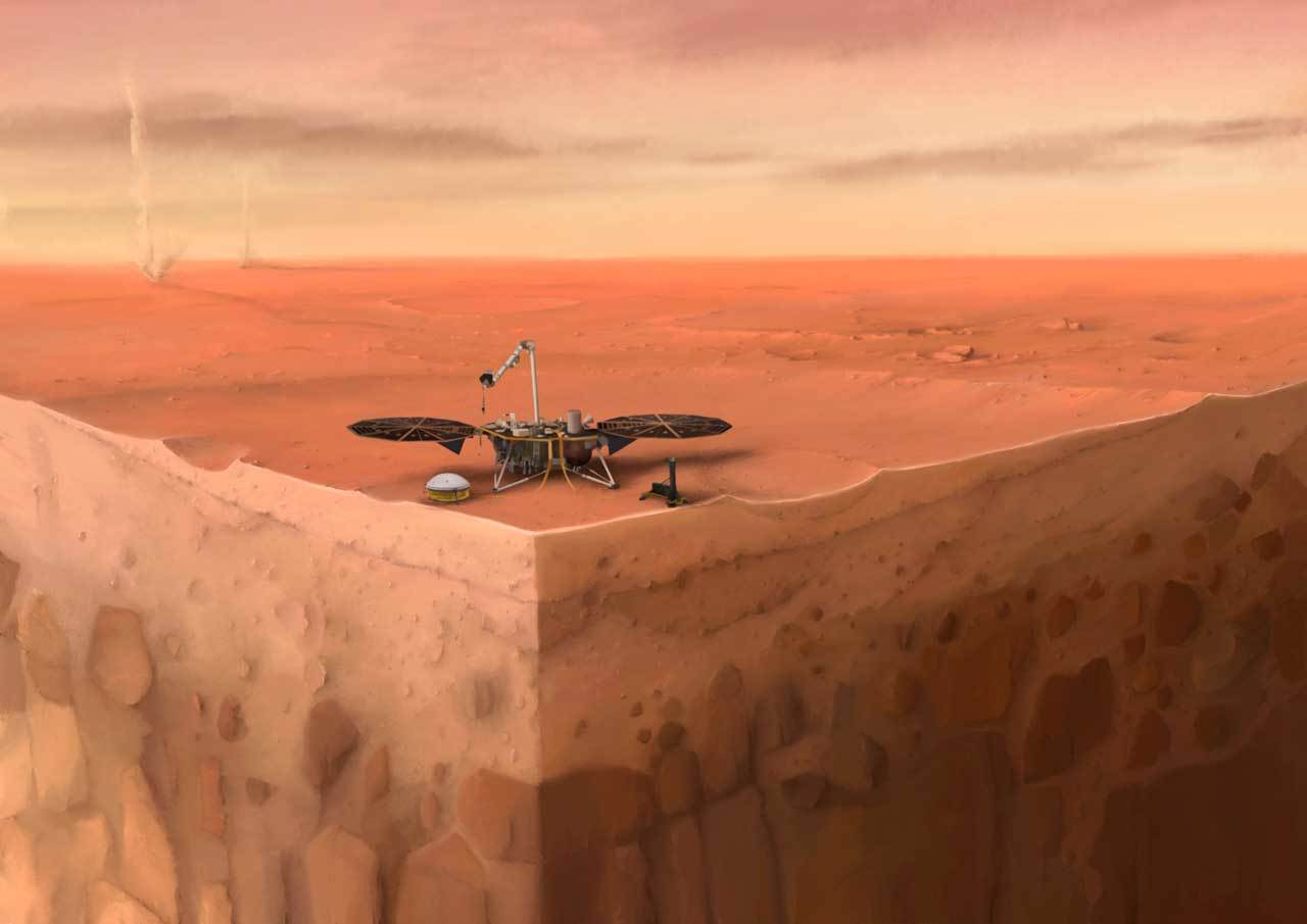In this artist's concept of NASA's InSight lander on Mars, layers of the planet's subsurface can be seen below and dust devils can be seen in the background.