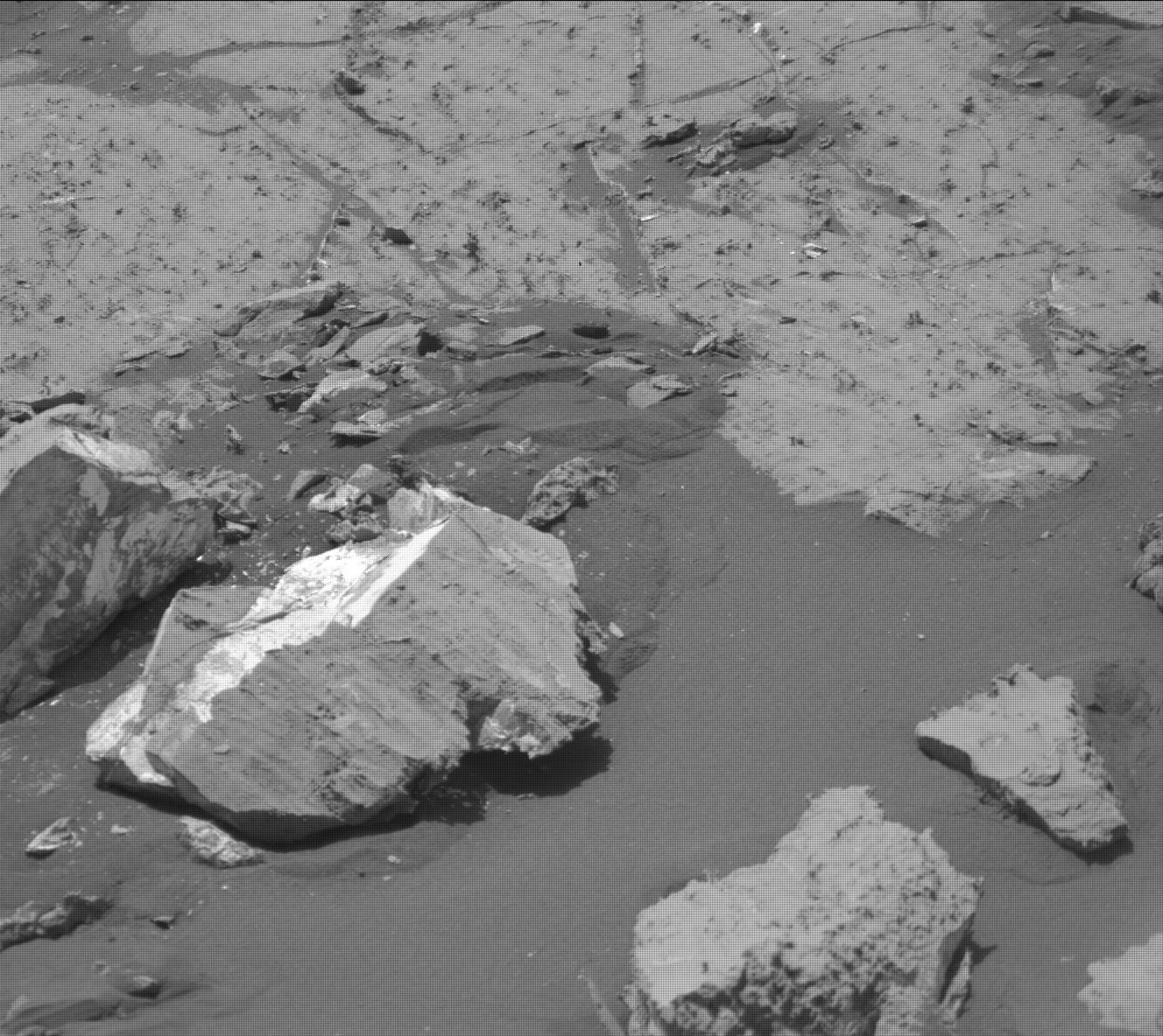 This image shows the wide diversity of rocks at the Hutton site. It was taken by the Mast Camera (Mastcam) onboard NASA's Mars rover Curiosity on Sol 2680.