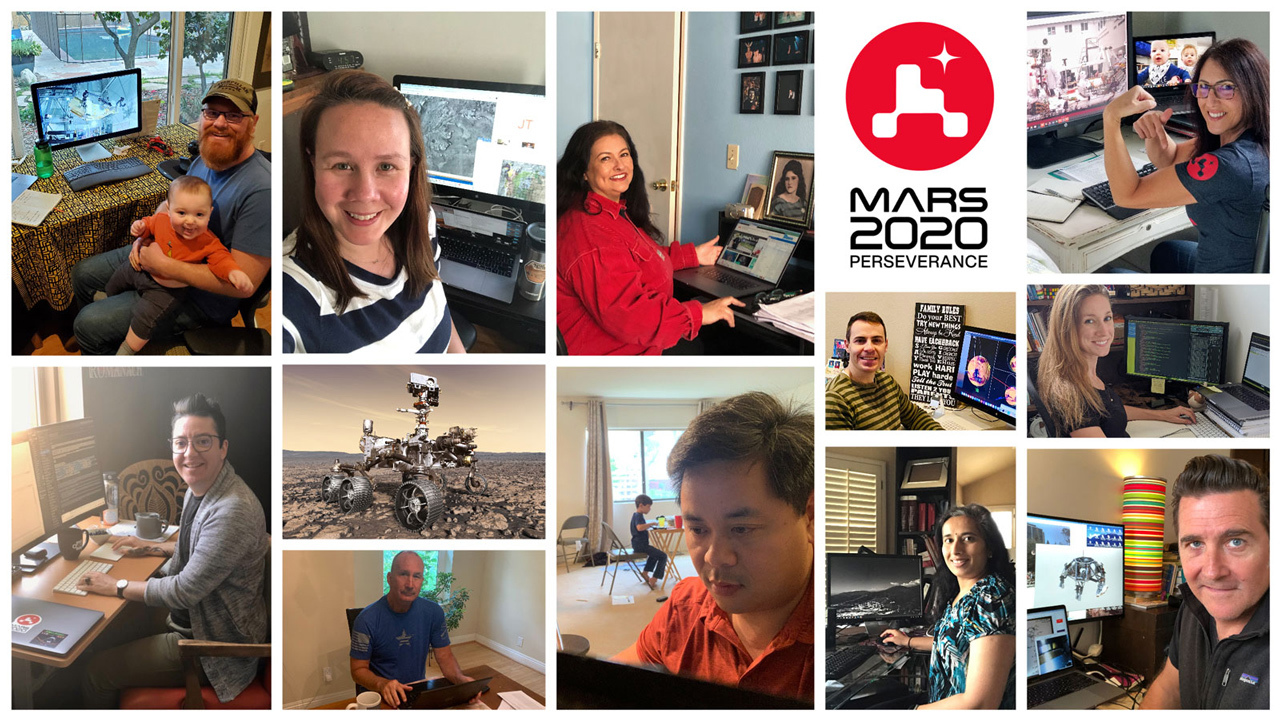Members of NASA's Perseverance rover mission work remotely from home during the coronavirus outbreak.
