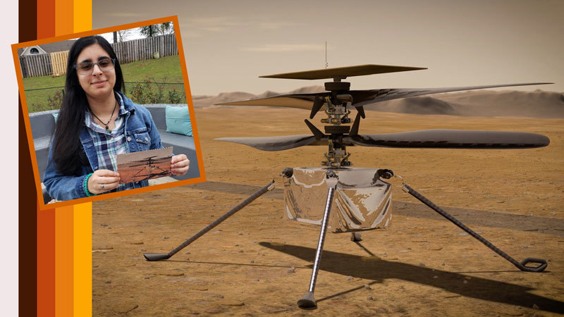 "Vaneeza Rupani (inset), a junior at Tuscaloosa County High School in Northport, Alabama, came up with the name Ingenuity for NASA's Mars Helicopter (an artist's impression of which is seen here) and the motivation behind it during NASA's ""Name the Rover"" essay contest."