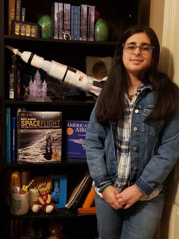 Vaneeza Rupani, the 11th grader who named the Mars Helicopter (Ingenuity), at home in Northport, Alabama.