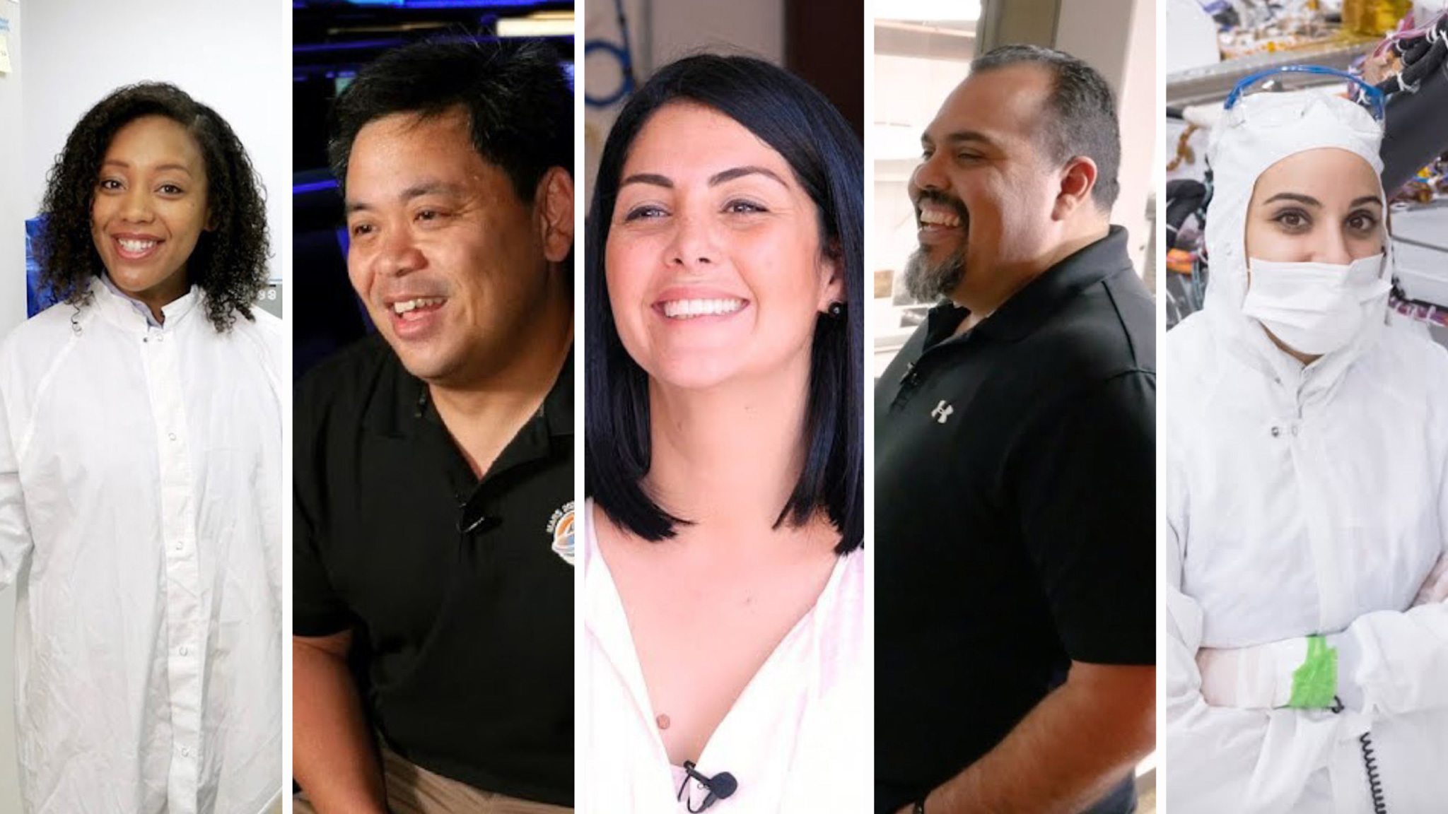 "From left to right: Moo Stricker, Al Chen, Diana Trujillo, Eric Aguilar and Michelle Tomey Colizzi as they appear in a new ""Behind the Spacecraft"" video series about the NASA's Perseverance Mars rover."
