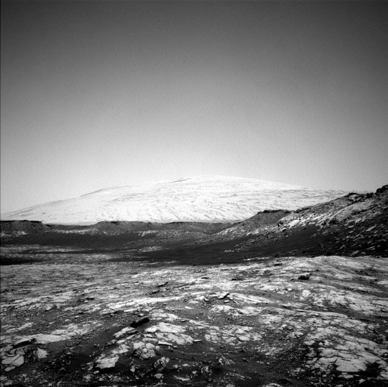 A black and white panorama of Mars