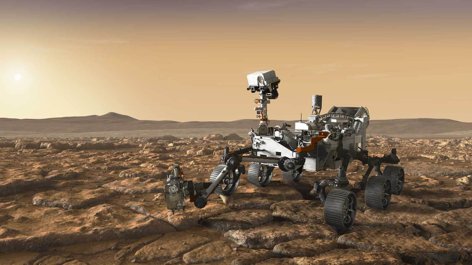 This artist's concept depicts NASA's Mars 2020 rover exploring Mars.