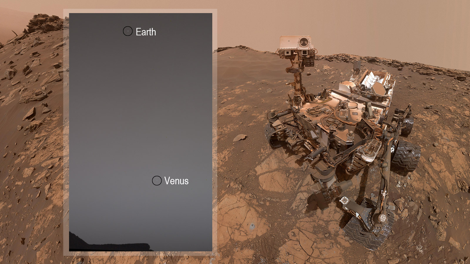 Earth and Venus as seen by the Mast Camera aboard NASA's Curiosity Mars rover
