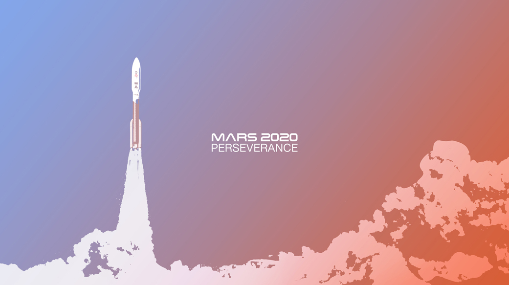 illustration of the Mars 2020 launch