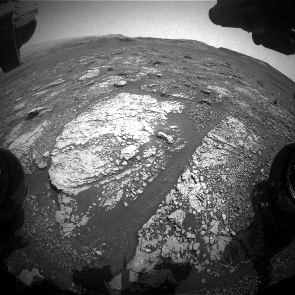 This image was taken by Front Hazard Avoidance Camera (Front Hazcam) onboard NASA's Mars rover Curiosity on Sol 2883.