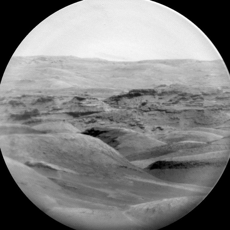 Black and white view of Mars