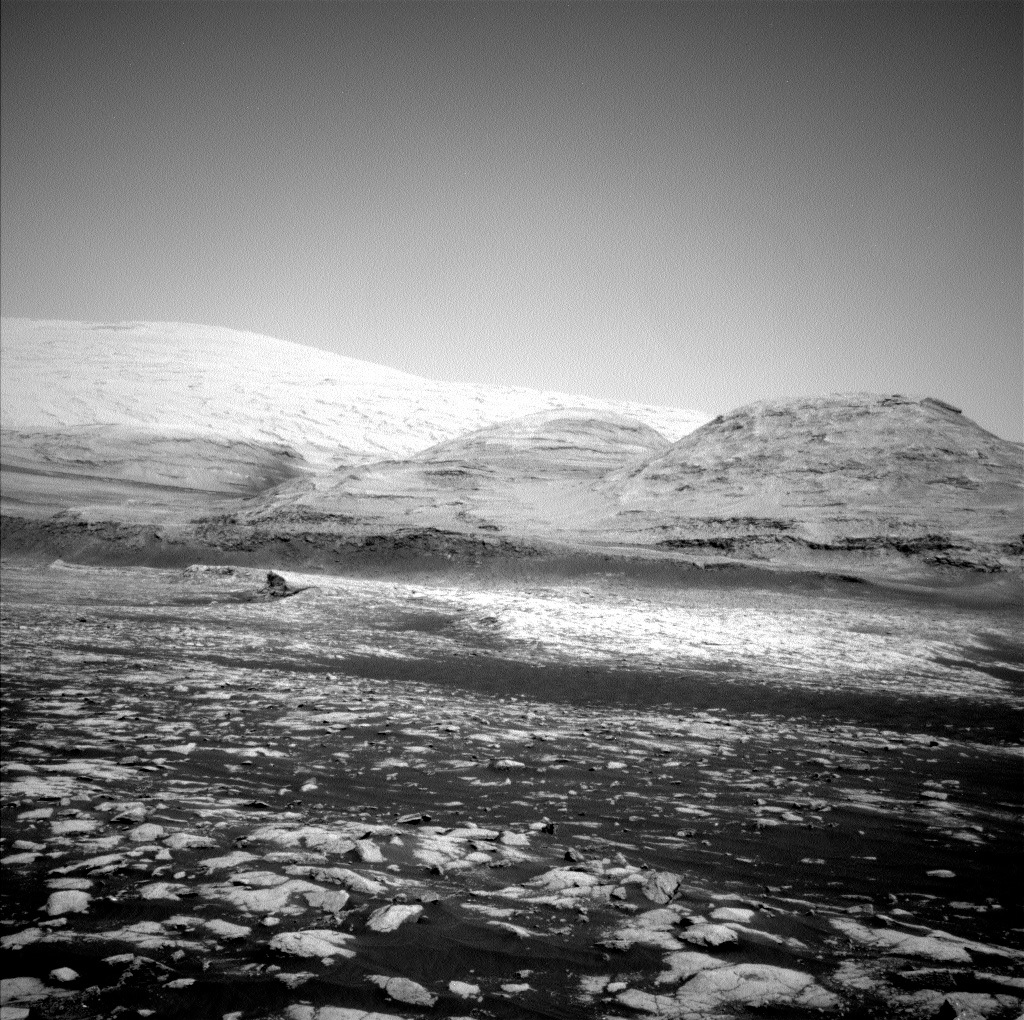 A black and white view of Mars
