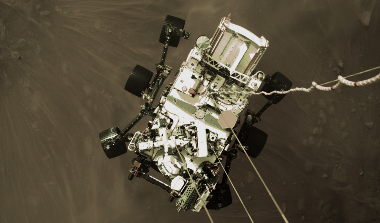 An image of the Perseverance rover as it touched down on Mars