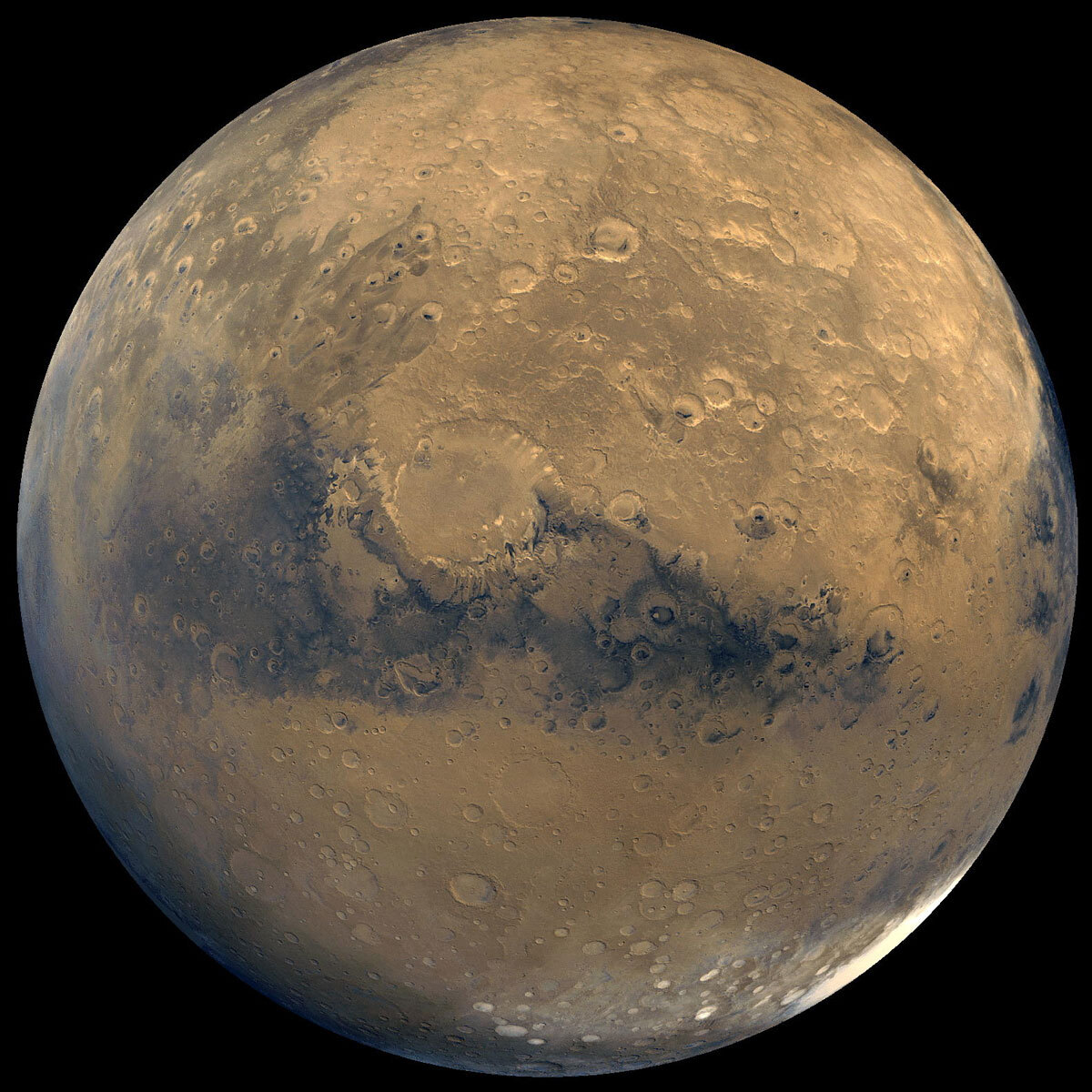 This global view of Mars is composed of about 100 Viking Orbiter images.