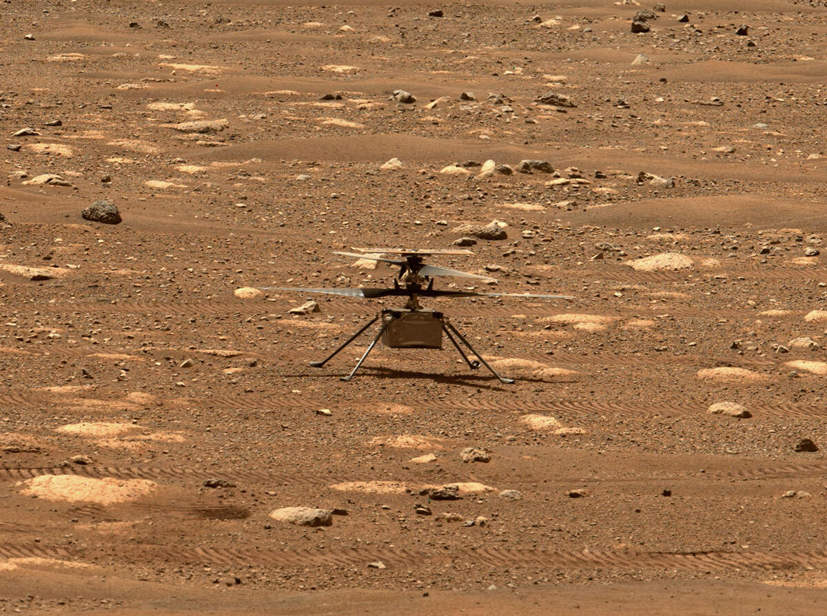 NASA's Ingenuity helicopter unlocked its blades, allowing them to spin freely, on April 7, 2021, the 47th Martian day, or sol, of the mission. This image was captured by the Mastcam-Z imager aboard NASA's Perseverance Mars rover on the following sol, April 8, 2021.