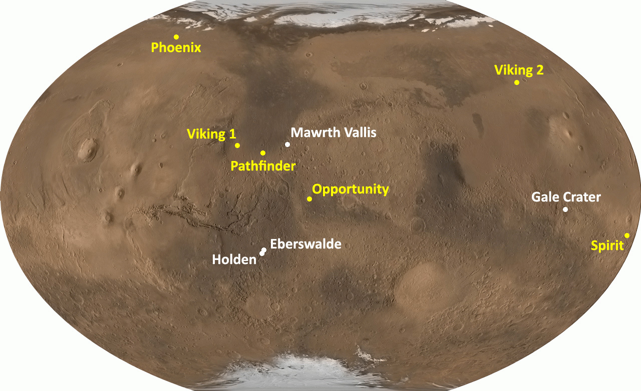 This map of Mars shows 4 possible landing sites for the Mars Science Laboratory.  Aslo shown are the landing sites for past missions; Phoenix, Viking 1, Viking 2 Pathfinder, Opportunity and Spirit.