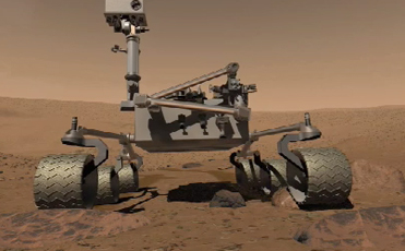 This image is an artist's concept of the Mars Science Laboratory on the surface of Mars.
