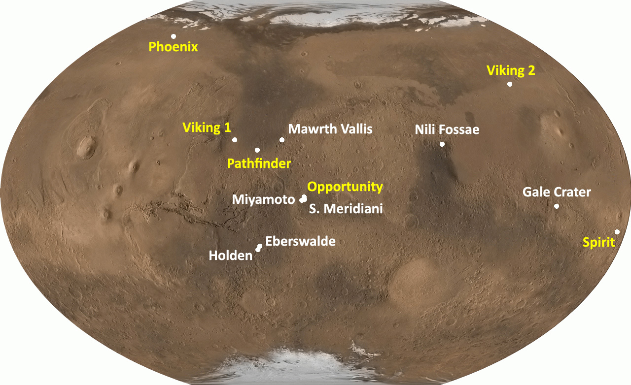 This global image shows seven possible landing sites for MSL.