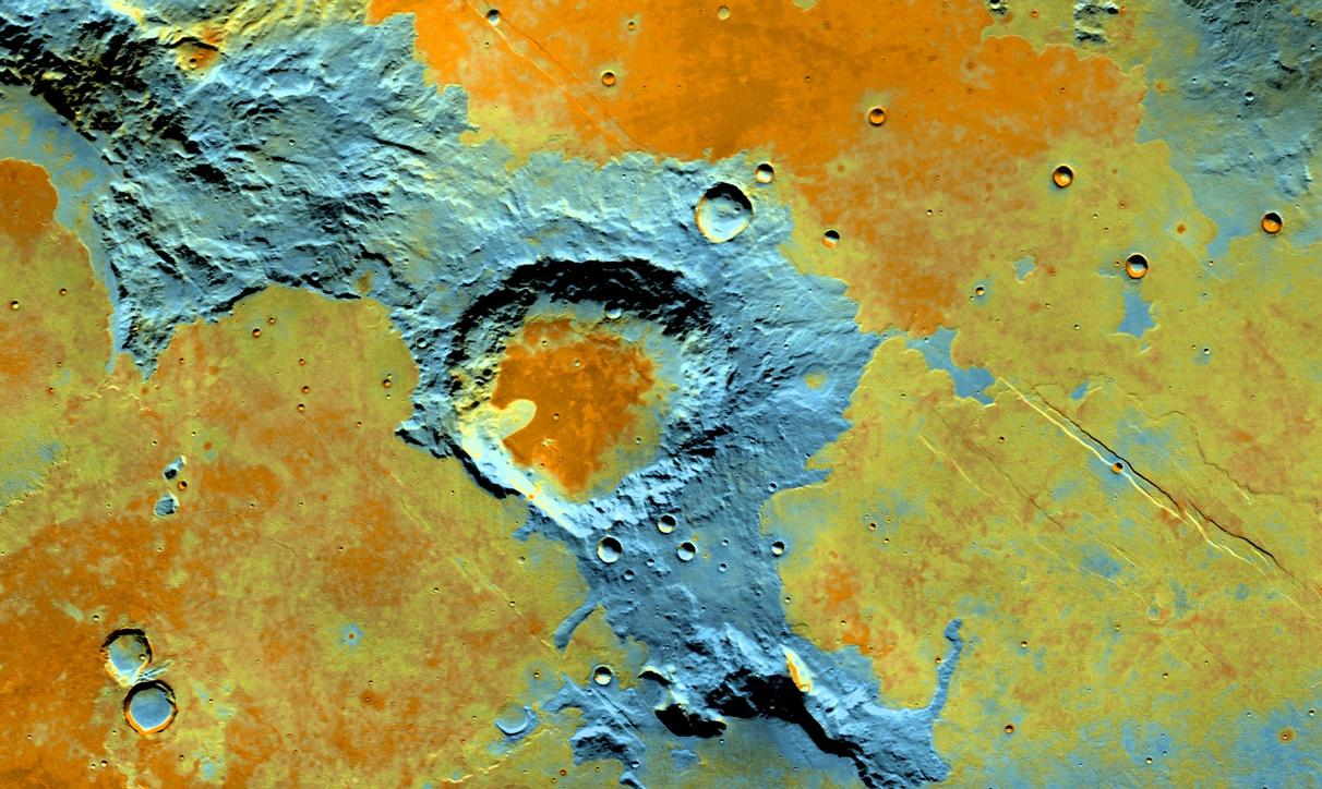 On the southwest edge of the immense volcanic region of Tharsis, lava from its giant volcanoes flowed down to meet the old cratered landscape of Terra Sirenum.