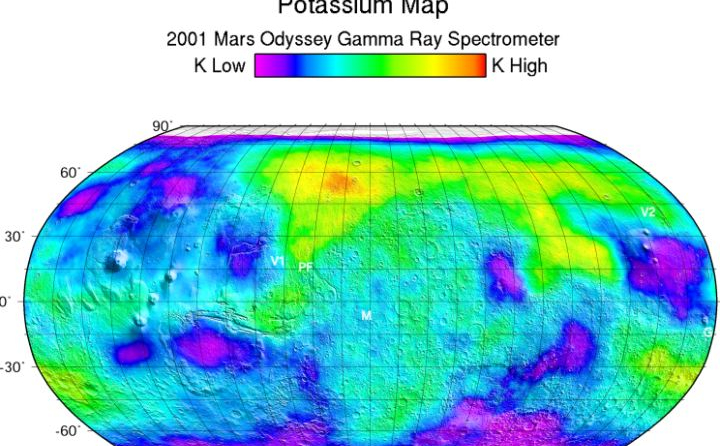 This map is based on gamma rays from the element potassium, which is about twice as abundant on Mars as it is on Earth.