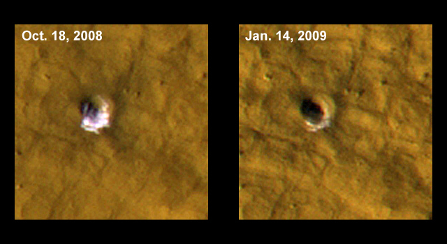 Twelve-Meter-Wide Crater Excavates Ice on MarsRelated Images Related VideoListen to media telecon (MP3 - 30Mb)Read the media telecon transcript
