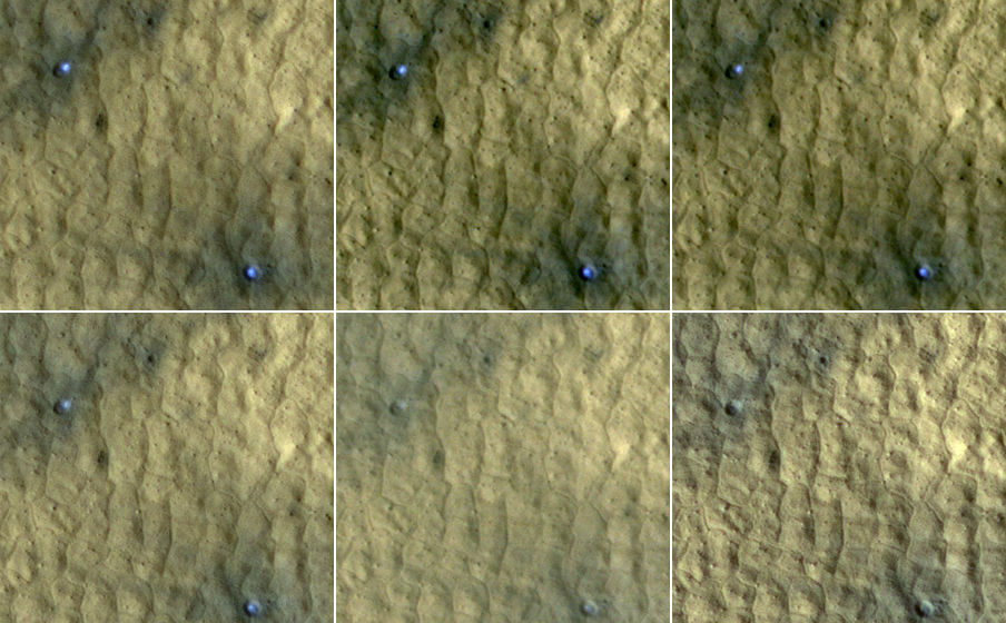 This series of images spanning a period of 15 weeks shows a pair of fresh, middle-latitude craters on Mars in which some bright, bluish material apparent in the earliest images disappears by the later ones.