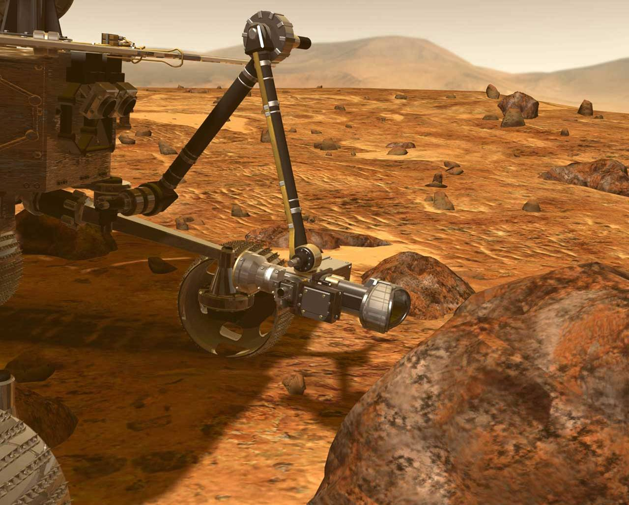 Artist's concept of rover using the rock abrasion tool (RAT) on the robotic arm grinds away the rock's surface, allowing scientific instruments to analyze the rock's interior.