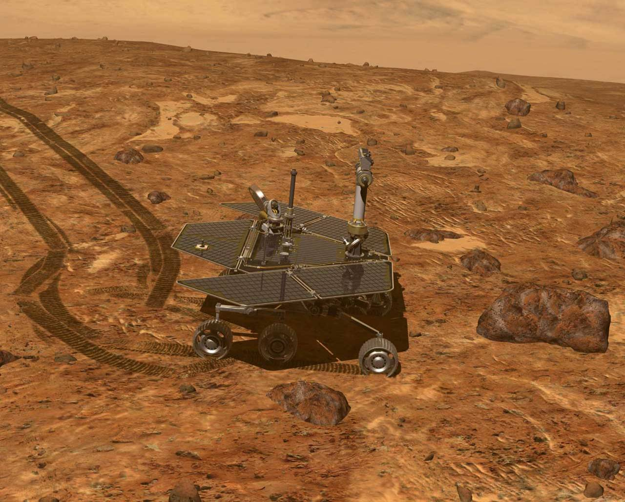 Artist's concept of controlling the rover from Earth, scientists drive the rover along Mars' surface inspecting geological features.